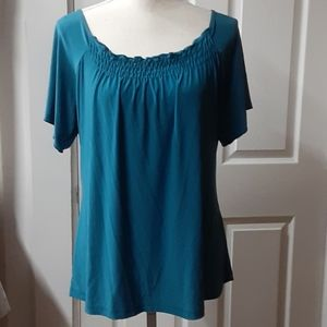 Susan Lawrence blue short sleeve top size XL